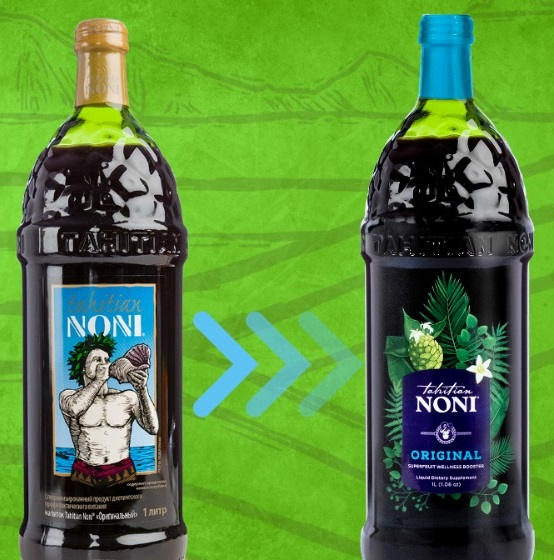 Дизайн бутылки сока нони